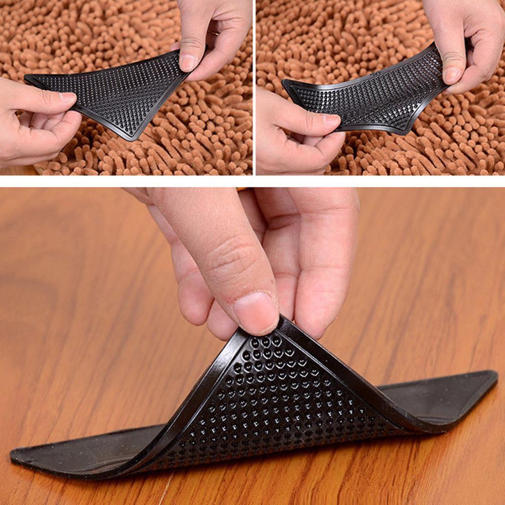 4 шт./лот треугольный многоразовый Нескользящий Резиновый коврик, нескользящий коврик, моющийся коврик, захват, пробка, клейкая лента, накле...