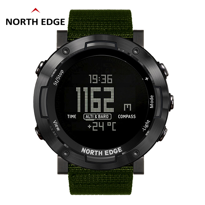 NORTH EDGE Men Sport Watch Thermometer Altimeter Barometer Compass Pedometer Calorie Nylon Band Watches Digital Running Climbing