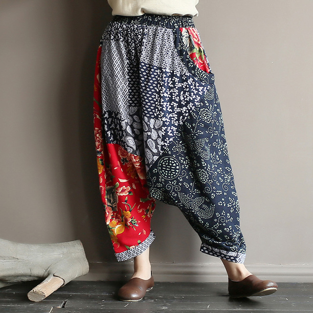 Original folk style women's retro stitching old cotton and linen material shift pants women loose large size baggy pants 27