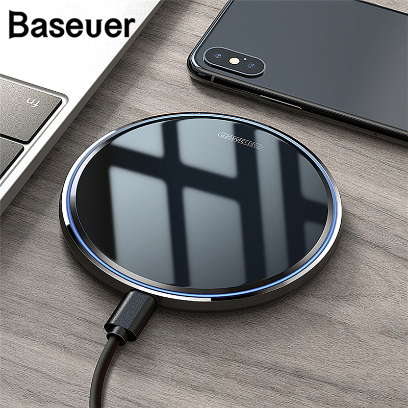 Baseuer Mirror 10W Fast Wireless Charger For IPhone 11 Pro Max XS XR 8 Phone Chager Charging Pad For Samsung Xiaomi Huawei P30