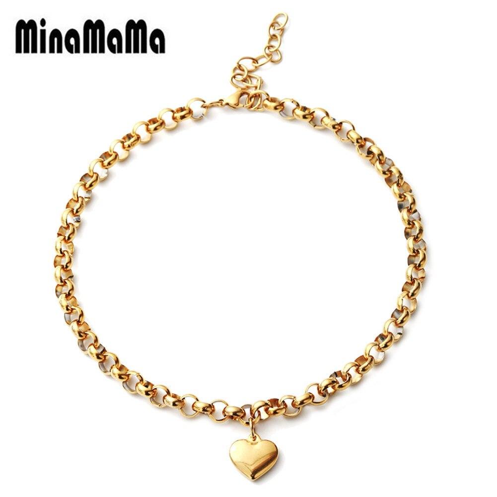 Hot Sale Beach Leg Bracelet For Women Charm Beaded Heart Shaped Pendant Stainless Steel Chain Anklet Girl Gifts