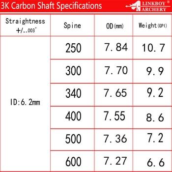 6/12pcs Linkboy Archery ID6.2mm Pure 100% 3K Carbon Arrows Shafts 32 6