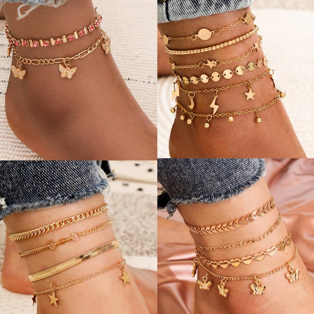 DIEZI Vintage Bohemian Summer Gold Color Metal Chain Anklets Women Girls Butterfly Leg Ankle Anklet Bracelet Beach Jewelry