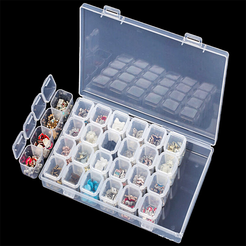 28 Grids Transparent Makeup Organizer Adjustable Women's Jewelry Holder Case Portable Beads Rings Earrings Display Box Products