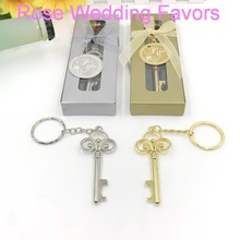 FREE SHIPPING+NEW ARRIVAL Key To My Heart Collection Gold Metal Chain Bottle Opener Golden Wedding Favors+100pcs/Lot