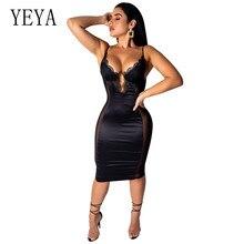 купить YEYA Women Summer See Through Elegant Dress Fashion Bodycon Spaghetti Strap V Neck Pencil Dresses Sexy Party Club Black Vestidos дешево