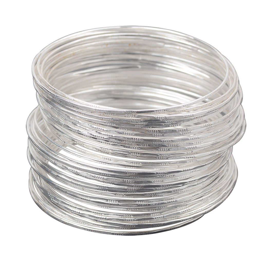 50 шт., ультратонкий Серебристый браслет-обруч, манжета, модный браслет, ювелирные изделия, браслеты для женщин и девочек