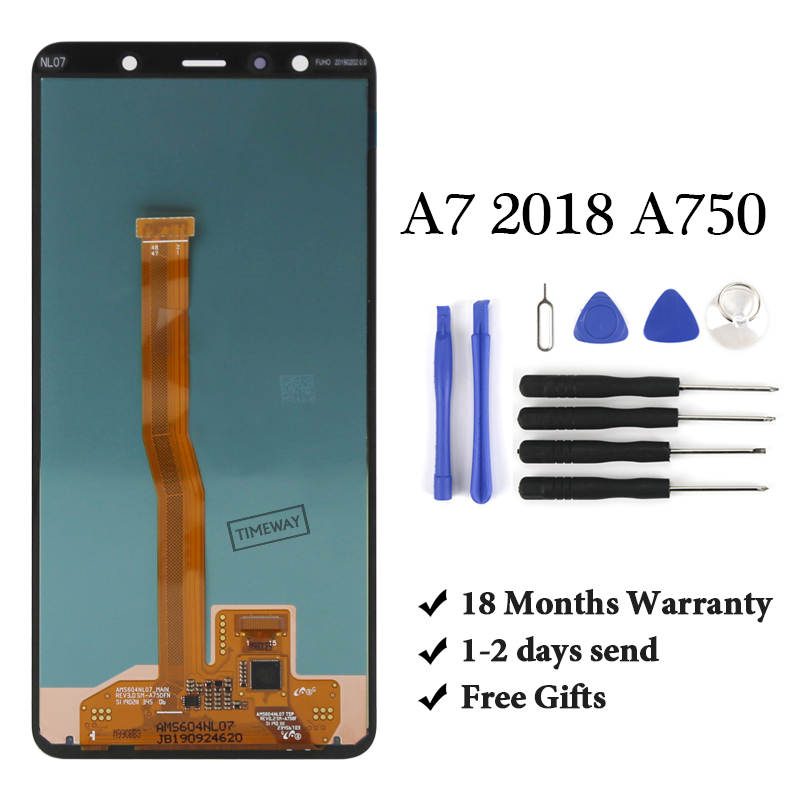 6.0'' Super AMOLED <font><b>LCD</b></font> For <font><b>Samsung</b></font> Galaxy <font><b>A7</b></font> 2018 A750 <font><b>LCD</b></font> SM-A750F A750F Display With Touch Screen Assembly Replacement Part image