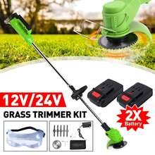 Cortadora de césped inalámbrica, herramientas eléctricas de jardín, máquina cortadora de césped con 2 baterías, 12V/24V
