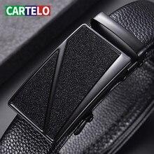 CARTELO Men's Belt Cow Leather business Automatic Buckle Bla