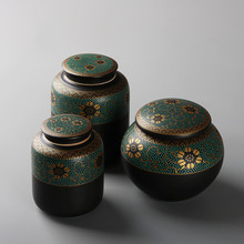 Ceramic  tea box storage ceramic jar puer container canister caddy D130