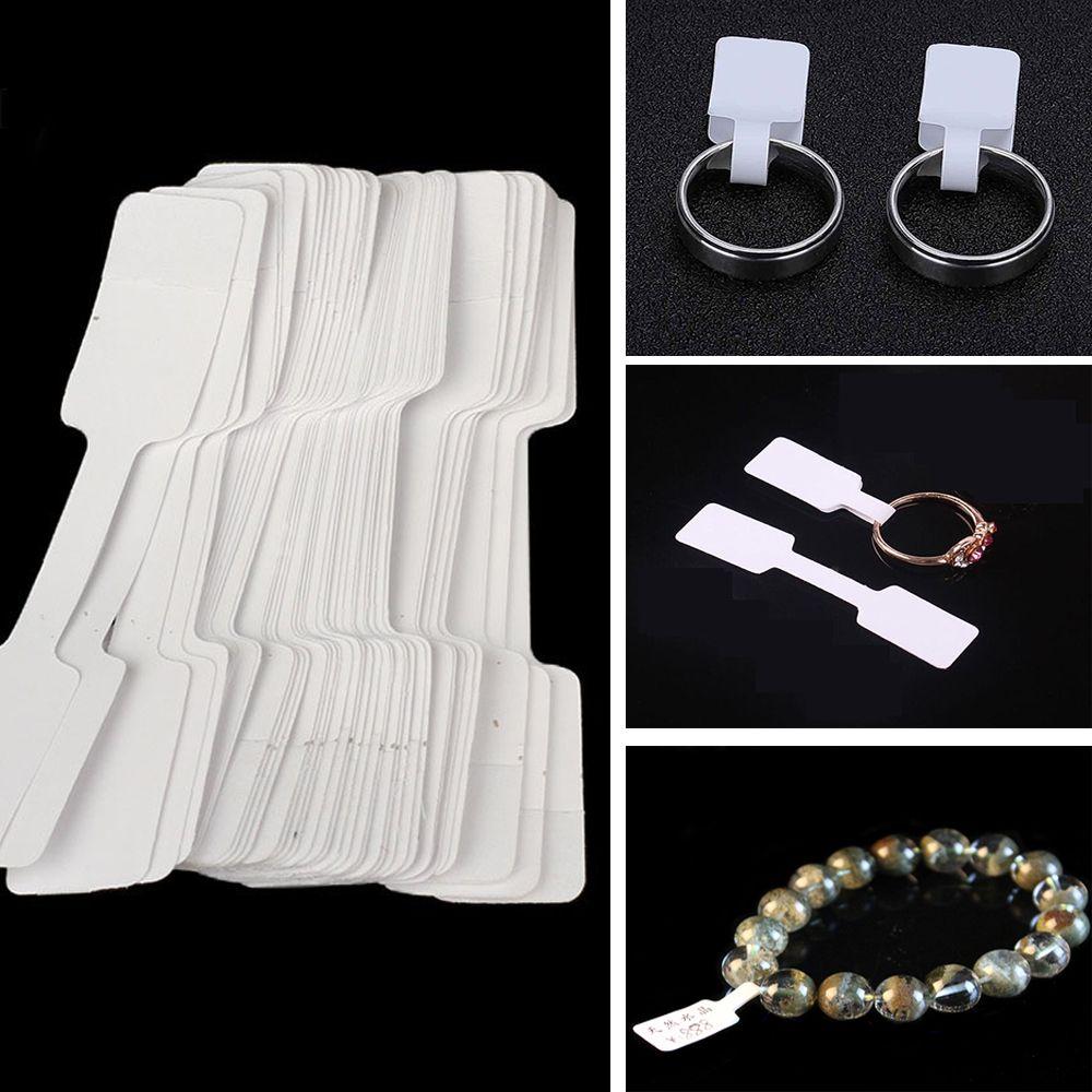 100 шт. белые пустые ценники для ювелирных изделий, бумажные ценники, ценники для браслетов, ожерелий, колец, размер ювелирных изделий, липкие ...