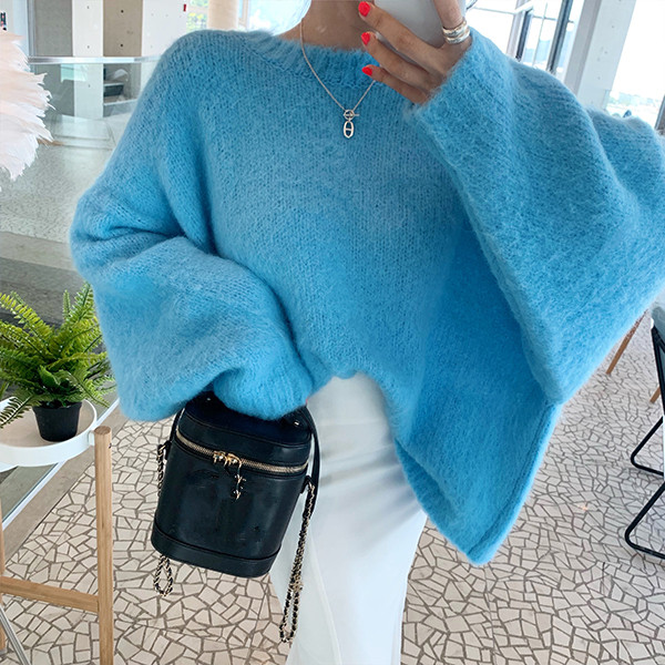 HAMALIEL Fashion Two Wear Before And After Women Loose Mohair Sweater Fall Winter Batwing Sleeve Mink Cashmere Soft Pullovers