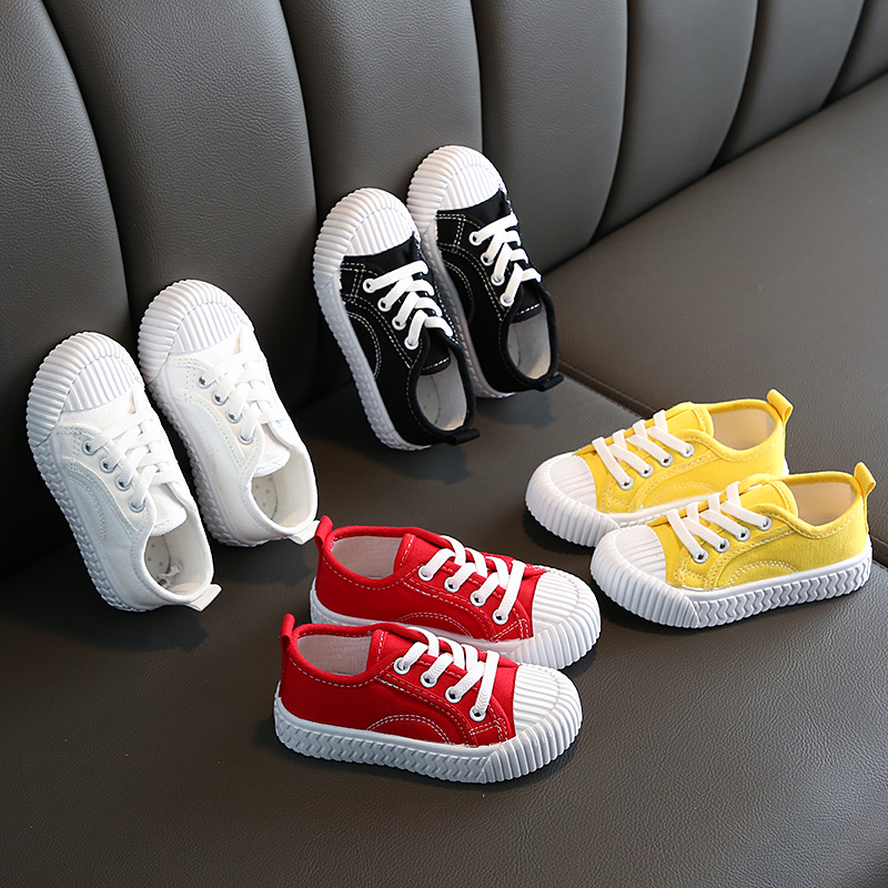 Toddler Boys Girls Yellow Red White Casual Sneakers Shoes For Baby Canvas Slip-On Sneaker Shoes New Autumn 1 2 4 6 8 10 13 Years