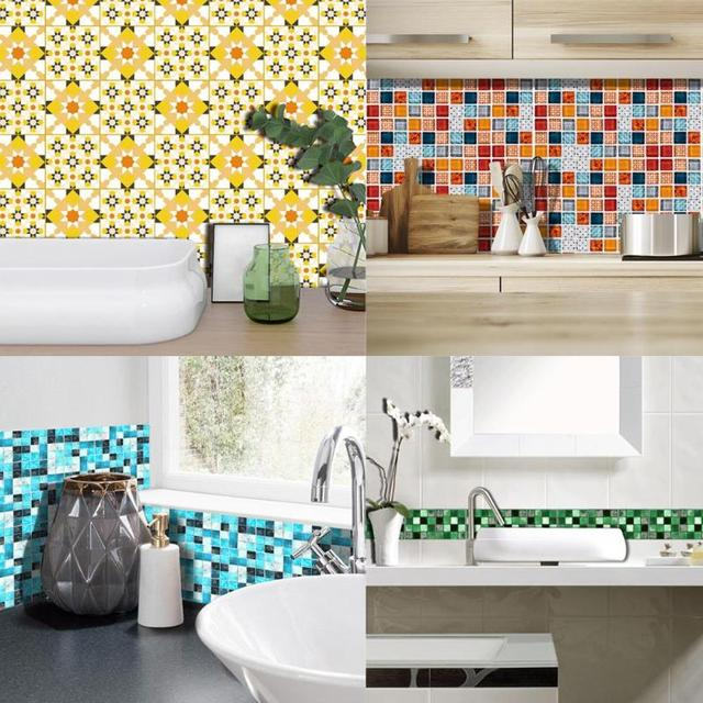 19Pcs Mosaic Tile Wall Sticker Self Adhesive Pvc Waterproof Tiles Decals Diy Kitchen Bathroom Home Wall Sticker Vinyl 3D 2