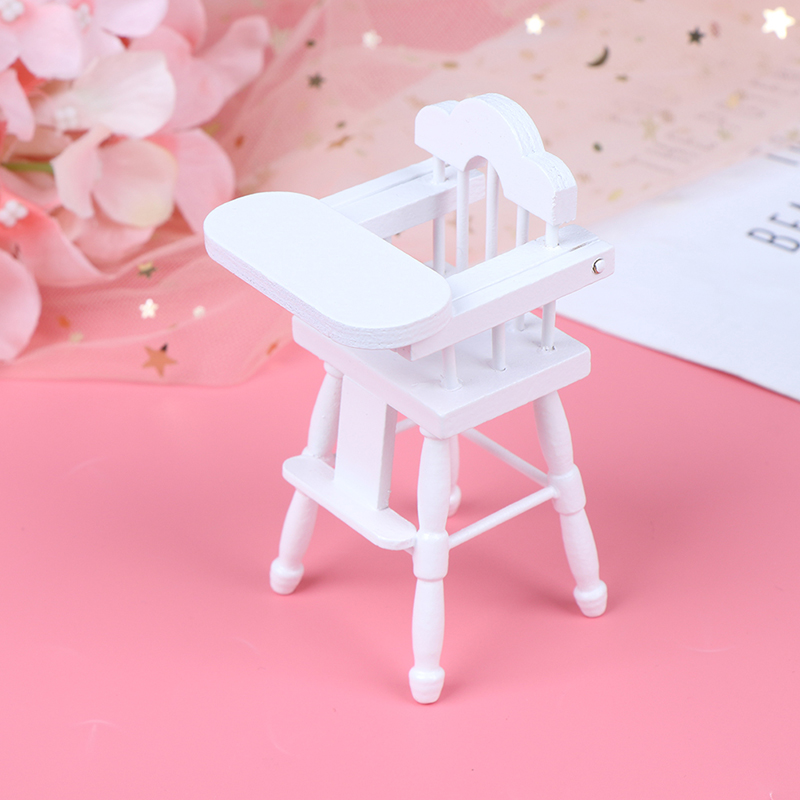 1/12 White Pink Furniture Chair Portable Child Dining Chair Toy For Baby Doll House Furniture Baby Doll Accessories Baby Infant