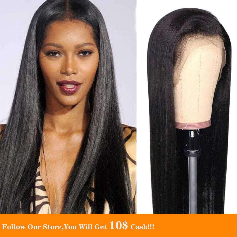Jet Black 13X4 Lace Front Human Hair Wig Colored Long Silky Pre Plucked Malaysia Straight Natural Hair Large Cap Size  For Women