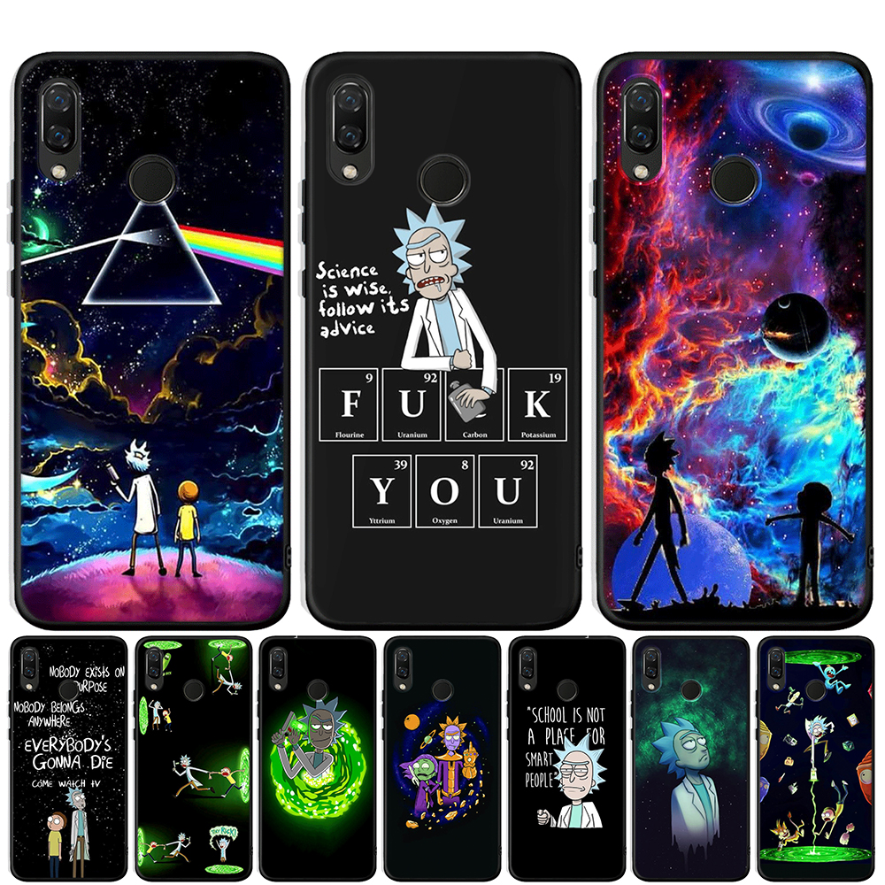 Rick and Morty Pattern Black Silicone Case For Honor 20 Pro 10 9 9i 8 Lite 8X 8S 8C 7A 7X V20 View 20 Matte Cover Coque Etui image
