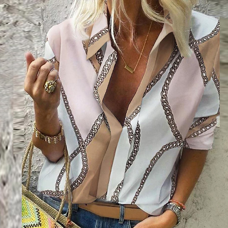 Chain Print Blouse And Shirt Women Fashion Woman Blouses 2020 Long Sleeve Vintage Shirt Womens Tops And Blouse Plus Size Top