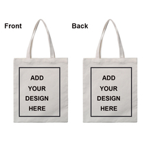 URSPORTTECH Customised Tote Bag Shopping Add Your Design Print Original Design White Zipper Unisex Fashion Travel Canvas Bags