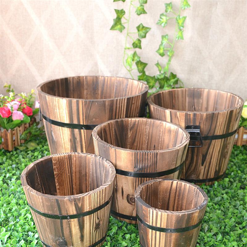 Wooden Round Barrel Planter Flower Pots Home Office Garden Wedding Decor (Flat Mouth/Large/Brown/19x14x15cm)