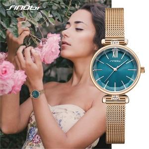 Image 4 - SINOBI 최고 럭셔리 브랜드 여성 시계 황금 스테인레스 스틸 숙녀 손목 시계 여성 우아한 다이아몬드 시계 선물 reloj mujer