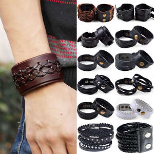 European HOT snap button Bracelets Factory Direct Vintage Cow Leather Jewelry Fashion Punk Leather Men's Cuff Bracelet Jewelry