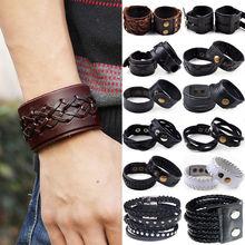 European HOT snap button Bracelets Factory Direct Vintage Cow Leather Jewelry Fashion Punk Mens Cuff Bracelet