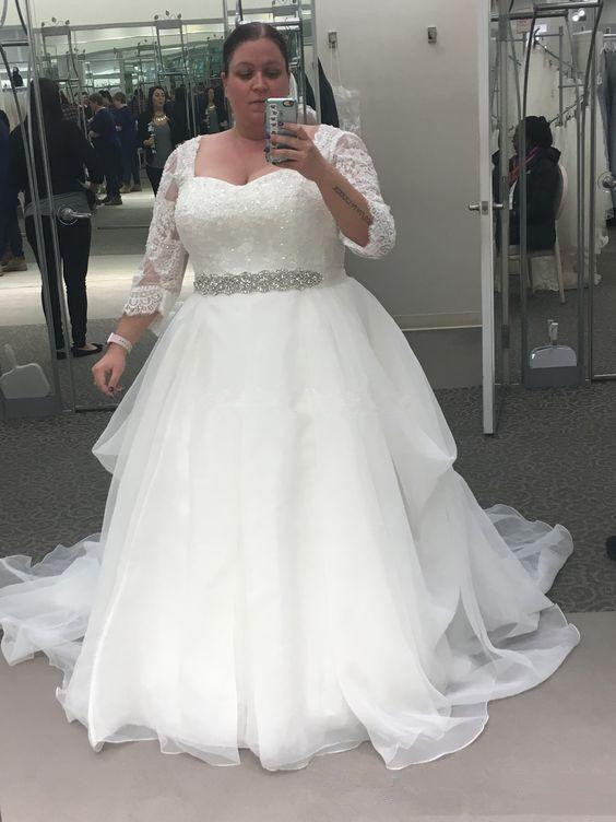 Beautiful Plus Size A Line Wedding Dresses With Sleeves Lace Appliques Beaded Sash Garden Beach Bridal Gowns Robe De Mariee