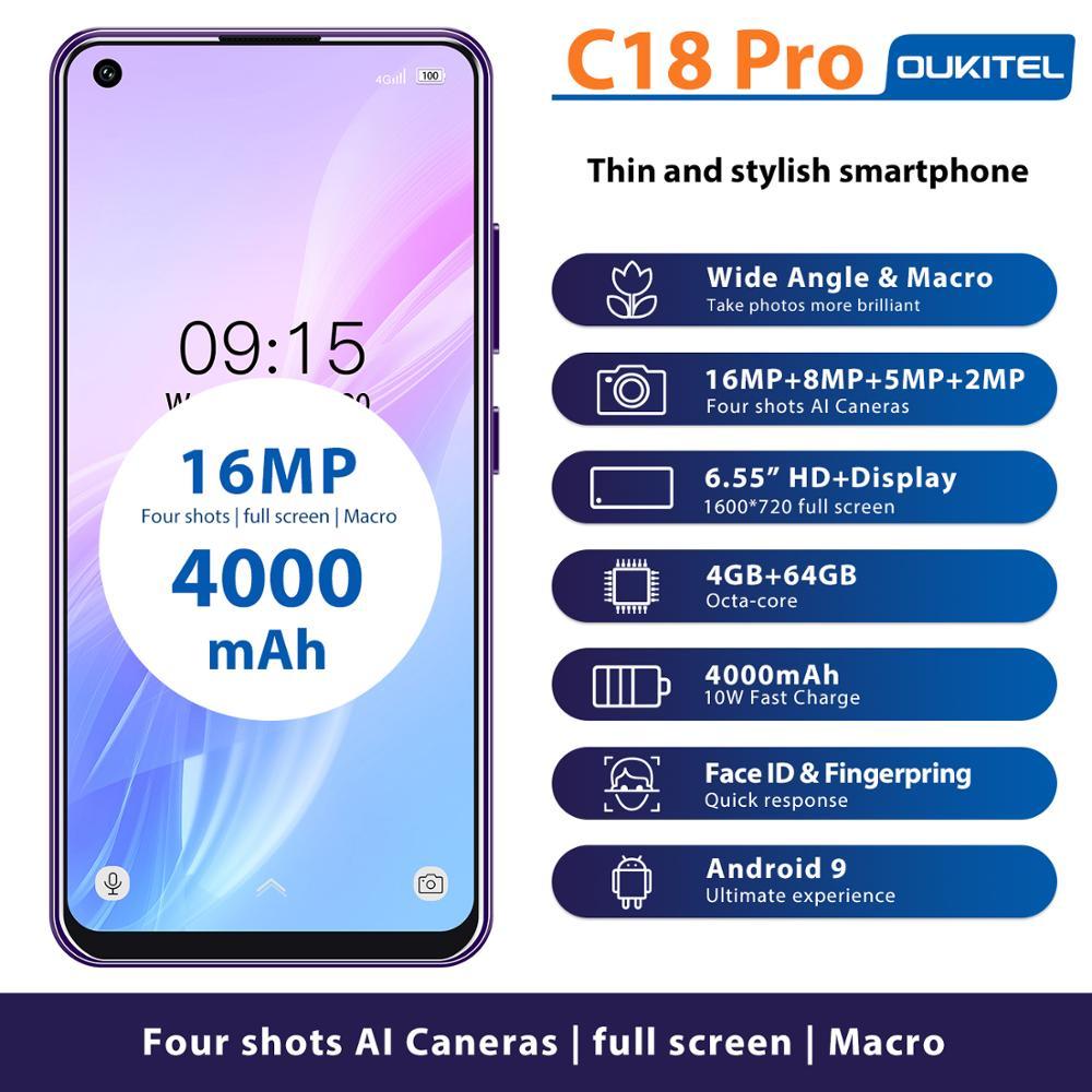 "Oukitel c18 pro 6.55 ""hd telefone móvel mt6757 octa núcleo 4 gb 64 gb android 9.0 smartphone 4000 mah 16mp al câmeras celular rosto id"