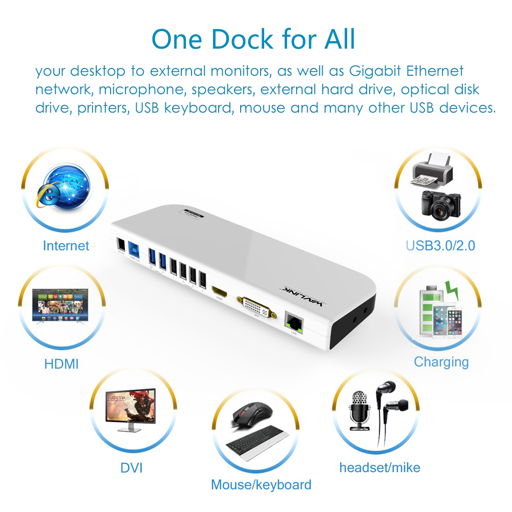 Estación de acoplamiento UNIVERSAL USB 3,0 Pantalla de MONITOR de vídeo DUAL HDMI y DVI/VGA GIGABIT ETHERNET AUDIO 6 puertos USB para tableta portátil - 5
