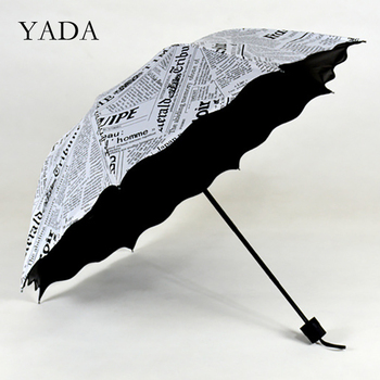YADA Ins New Fashion Newspaper 3-Folding Umbrella Rain UV Child lace For Women Man Windproof Fold Umbrellas YS200088