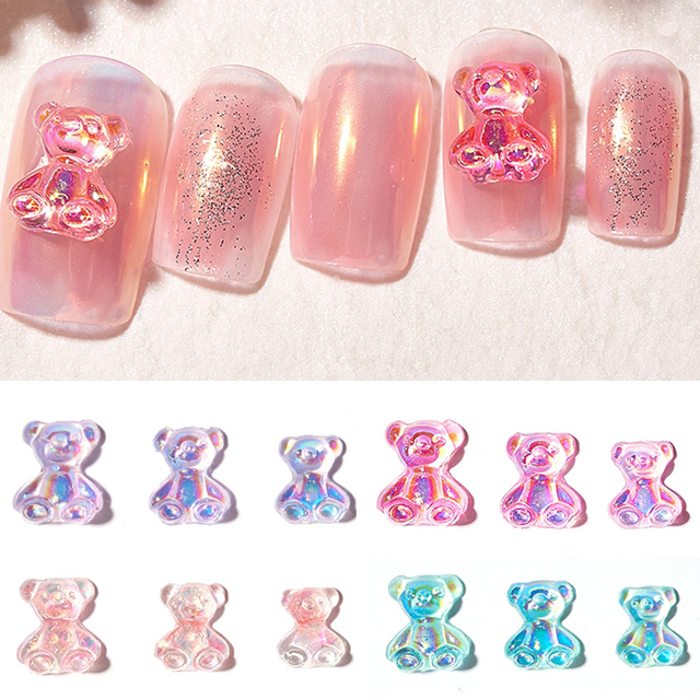Mixed Size  Aurora Little Bear Nail Art Accessories Resin Kawaii Bear Stereo 3D Fashion Fingernail DIY Decoration 1