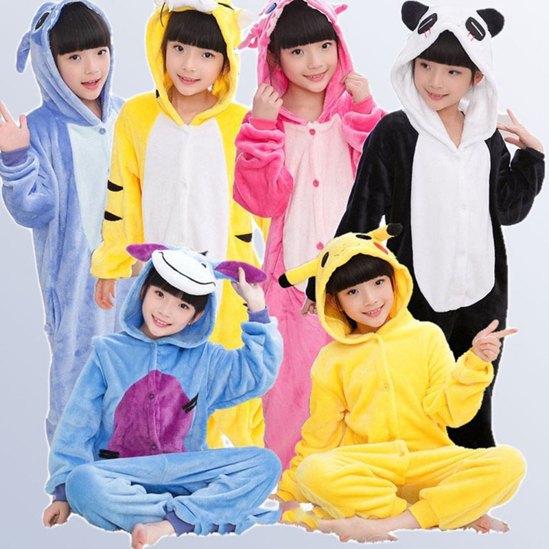 Boys Girls Pajamas Animal Pyjamas Baby Autumn Winter Flannel Cute Hooded Kids Sleepwear Pijamas cosplay for 4 6 8 10 12 Years title=