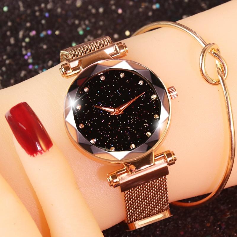 Luxury Women's Watches Starry Sky Rose Gold Magnetic Watch Women Watches Diamond Ladies Watch reloj mujer relogio feminino
