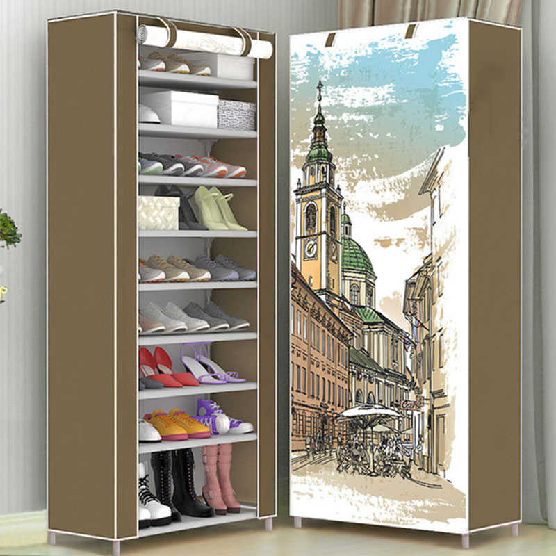Multi-layer Cartoon Pattern Mental Shoe Rack Folding Non-woven Cloth Fabric Storage Shoes Rack DIY Dustproof Storage Cabinet