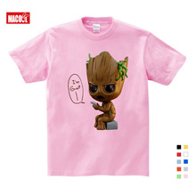 цена на Girls Baby Clothes for Summer New Casual Pink Tee Tops Clothes for Baby Groot Print T Shirt 3-12 Years Boy Girls T-shirts  3T-9T