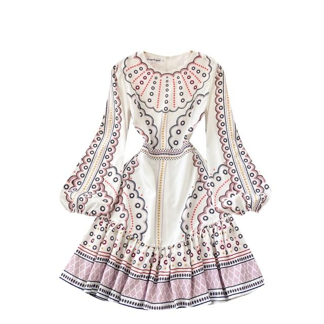 Boho 2021 High Waist Elegant Dresses Women Dress Party Luxury Long Sleeve Autumn Spring A-Line Runway Vintage Embroidery Puff 5