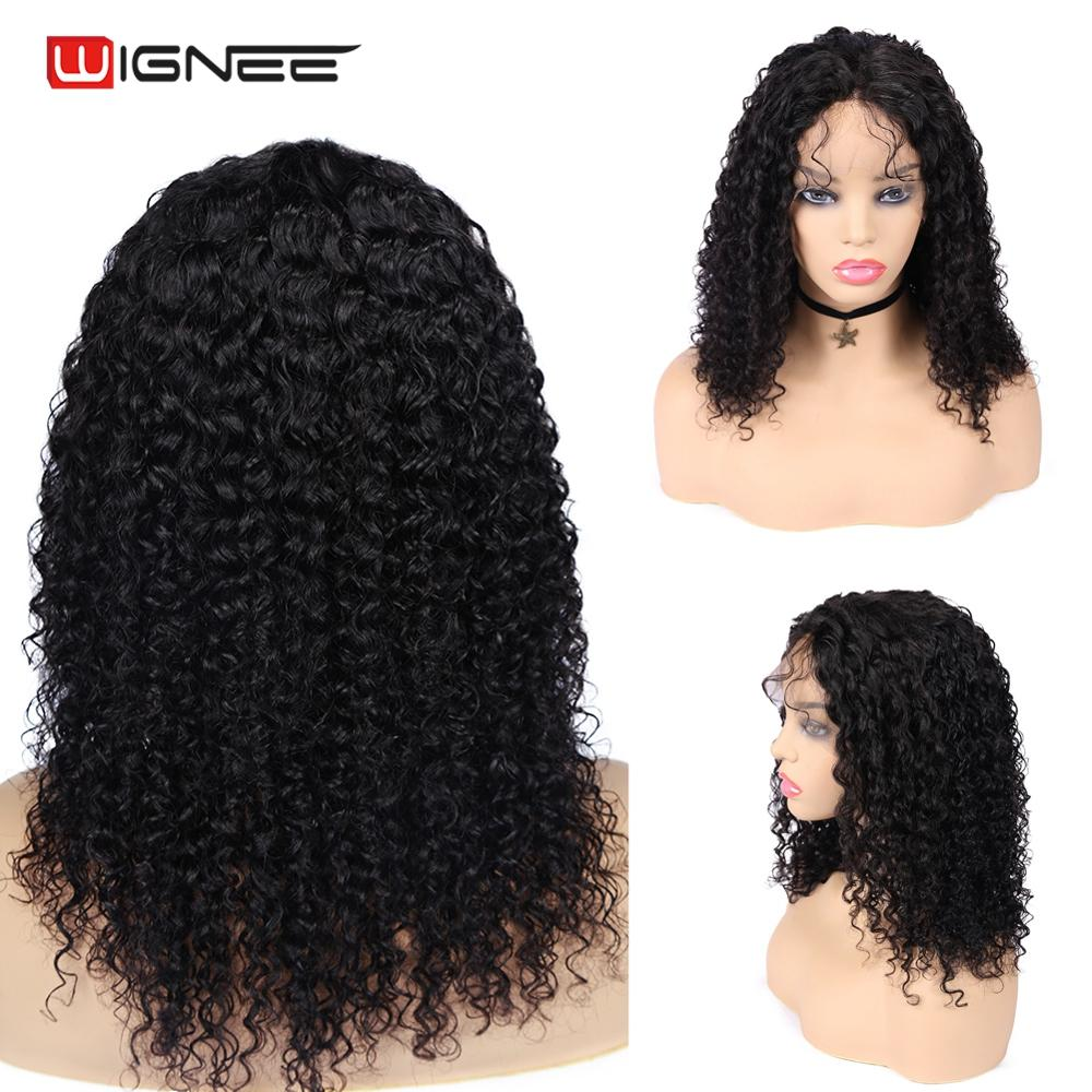 Wignee Remy Brazilian Hair Lace Human Hair Wig For Black/White Women 150% High Density Afro Kinky Curly Human Wig With Baby Hair