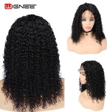 Wignee Remy Brazilian Hair Lace Human Wig For Black/White Women 150% High Density Afro Kinky Curly With Baby