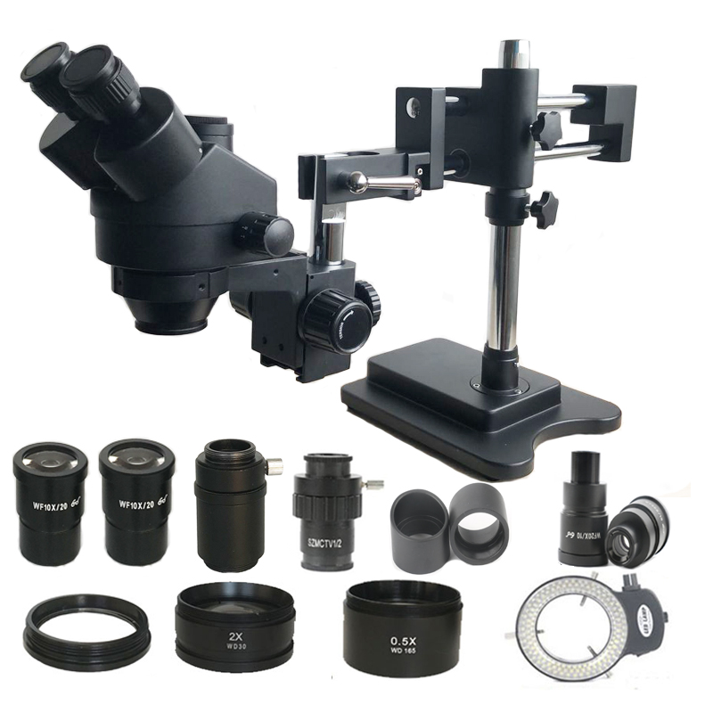 3.5X-180X Double Boom Zoom Simul Focal Trinocular Stereo Microscope 0.5X 2.0X Objective Lens Soldering PCB Repair Tools Rework