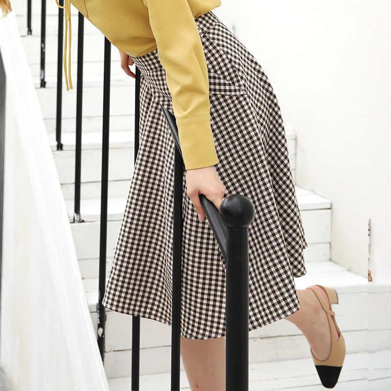 Kobiety ładna spódnica w kratę WF0023 2020 wiosna lato panie huśtawka Retro Vintage wysokiej talii spódnica linii z kieszeni