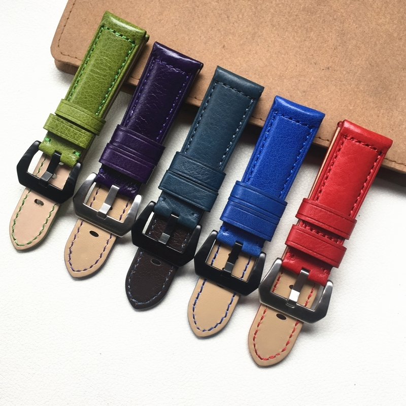 22mm 24mm Personality Fashion Green Blue Red Violet Genuine Leather Watchband Wristband For PAM Big Pilot Watch Strap Bracelet