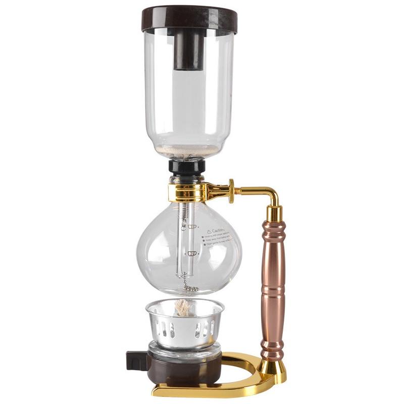 Ev Aletleri'ten Kahveciler'de Japon tarzı sifon kahve makinesi çay sifon Pot vakum kahve makinesi cam tipi kahve makine filtresi 3 bardak altın title=