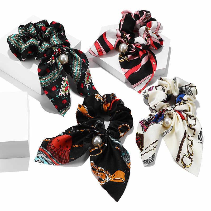 แฟชั่น Bowknot ผมหางม้ามุกดอกไม้ผม Scrunchies ผู้หญิงอุปกรณ์เสริมผ้าพันคอ Tie Hairband ริบบิ้น Headwear