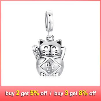 JewelryPalace kot na szczęście 925 srebro wisiorki z koralikami srebro 925 oryginał na bransoletkę srebro 925 oryginał do tworzenia biżuterii tanie i dobre opinie NONE SILVER 925 sterling CN (pochodzenie) Śliczne Romantyczny Grzywny DC@a01#470399 Brak Charms PEKIN CUG GEM TESTING CENTER