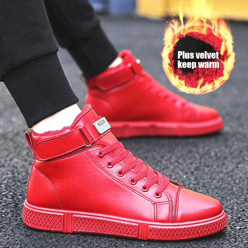 Fashion Trend Men Casual Shoes High Top Fur Sneakers Man Footwear Black Zapatos Outdoor Male Walking Shoes Men Flats Shoes Red
