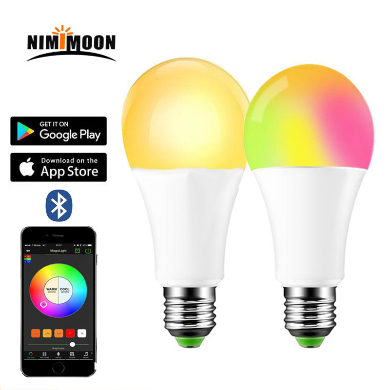 LED 5W 10W RGB Magic Lamp E27 15W Bluetooth Smart Bulb Color Change Light Bulb Smart Home Lighting Compatible IOS/Android image