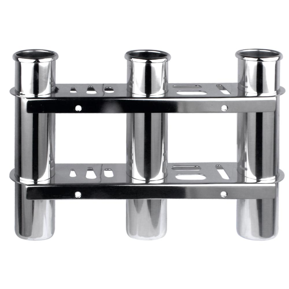 Boat Accessories Marine Stainless Steel Triple Fishing Rod Storage Holder Rack & Boat Organiser