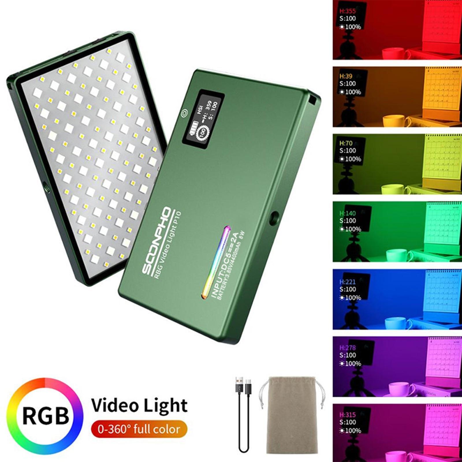 soonpho RGB LED Camera Light Full Color Output Video Light Kit Dimmable 2500K 8500K Bi Color Home v7 VC